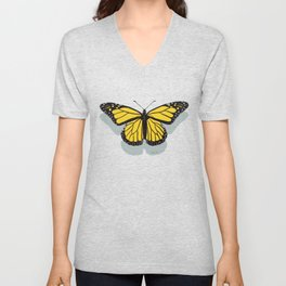 Hand-painted Monarch Butterflies, Oil Painting in Yellow and Grey, Paint Textured Butterfly Pattern  Unisex V-Neck