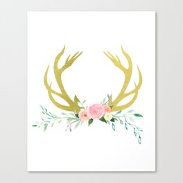 Gold Floral Antlers Canvas Print