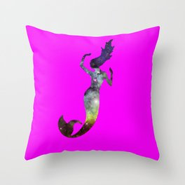 Galaxy Mermaid 2 (Pink) Throw Pillow
