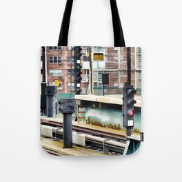 Railway station and semaphore Tote Bag