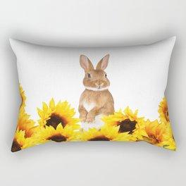 Sunflower Rabbit Rectangular Pillow