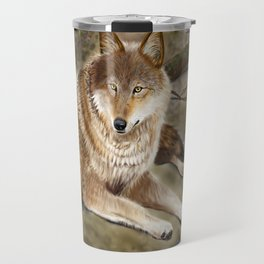 Wolf by the Riverbed Travel Mug