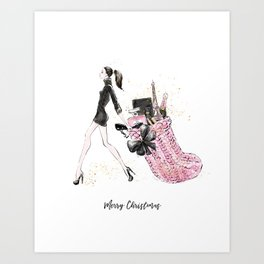 Pink Christmas - Brown Hair Option Art Print