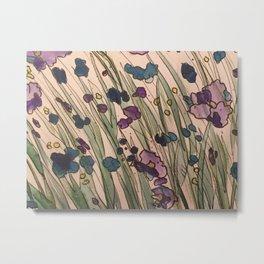 Purple and Blue Flowers Metal Print