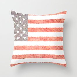 American Flag (stain glass) Throw Pillow