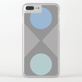 Earth And Moon - Mid-Century Minimalist Clear iPhone Case
