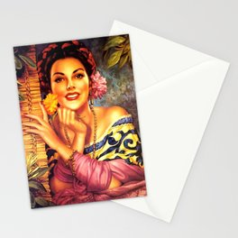 Jesus Helguera Painting of a Mexican Girl Beside Rattan Curtain Stationery Cards