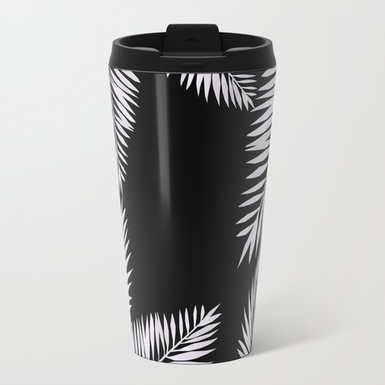 Watercolor tropical palm leaves black Metal Travel Mug