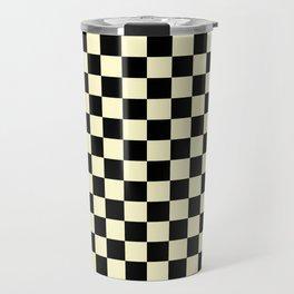 Black and Cream Yellow Checkerboard Travel Mug