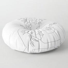 Minimal Line Art Woman with Wild Roses Floor Pillow