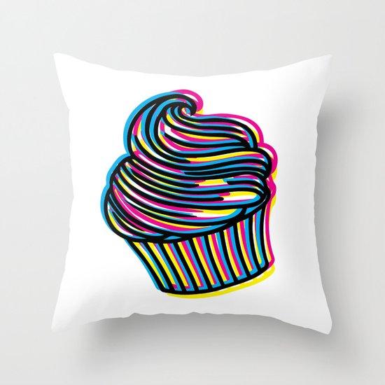 CMYK Cupcake Throw Pillow