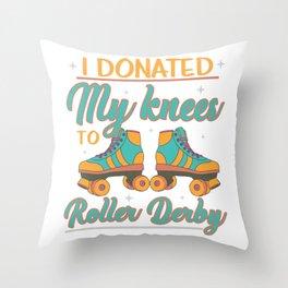 Roller Derby Girl Skater Knee Bruises Throw Pillow