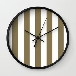 Gold Fusion grey - solid color - white vertical lines pattern Wall Clock