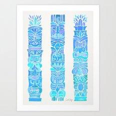 Tiki Totems – Turquoise Palette Art Print