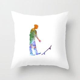 Man skateboard 09 in watercolor Throw Pillow