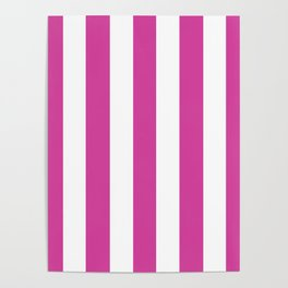 Barbie Pink (1975-1990) - solid color - white vertical lines pattern Poster