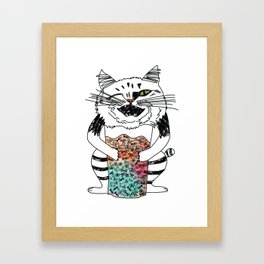 Emotional Cat. Playful. Framed Art Print