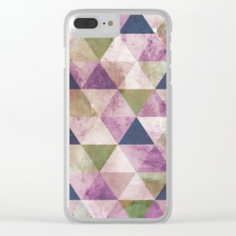 Blue, Green & Purple Triangle Geometric Design Clear iPhone Case