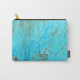 Peacock Blue & Aqua Textured Marbled Abstract Art Carry-All Pouch