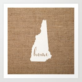 New Hampshire is Home - White on Burlap Art Print