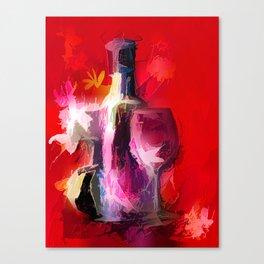 Fun Colorful Modern Wine Art (wine bottle & glasses) #society6 #wine Canvas Print