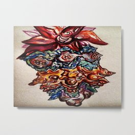 Three Eyed Flower Faced Watercolor Painting. Metal Print