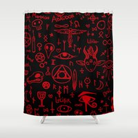 notebook Shower Curtains featuring notebook scribbles for satan by Mel Fox