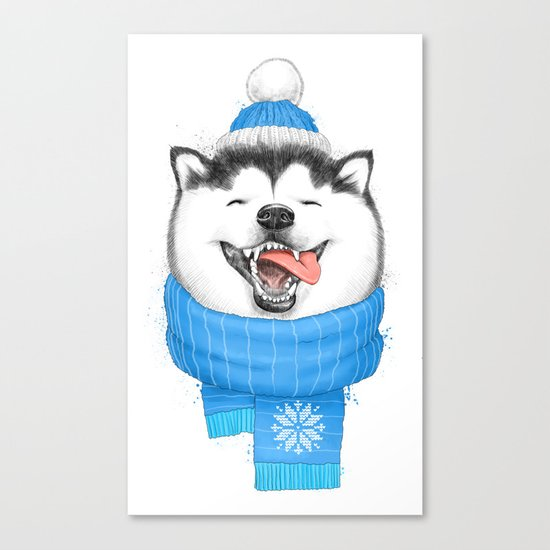 happy husky Canvas Print