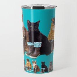 Tough Cats on Aqua Travel Mug
