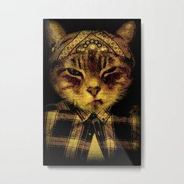 Gangster Cat Metal Print