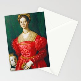 Agnolo Bronzino  -  A Young Woman And Her Little Boy Stationery Cards