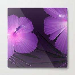 Ultraviolet Hibiscus Tropical Nature Print Metal Print
