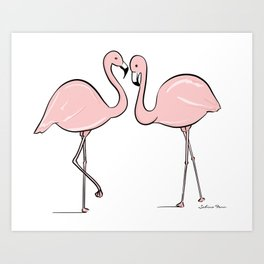 Flamingo Lovers Art Print