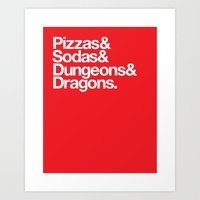 dungeons and dragons Art Prints featuring Dungeons & Dragons & Swag by Tuff Industries