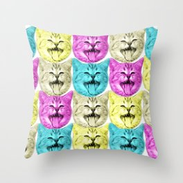 pop art color cat Throw Pillow