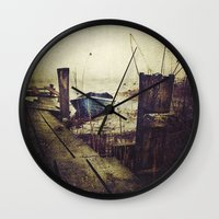 rowing Wall Clocks featuring Rugged fisherman by HappyMelvin