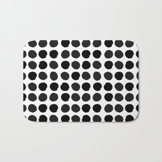 Black and white minimal paint brush painterly dots polka dots minimal modern dorm college painting Bath Mat