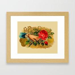 Vintage Cigar Box Art - La Rosa Habana Framed Art Print