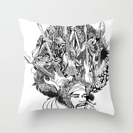 Handdrawn psychedelic Jimi Hendrix black and white portrait illustration Throw Pillow