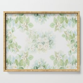 White roses bouquet watercolour painting Serving Tray