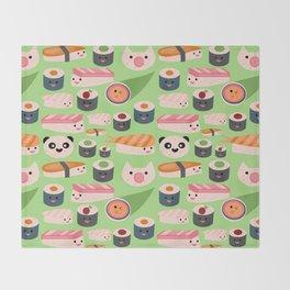 Kawaii sushi green Throw Blanket