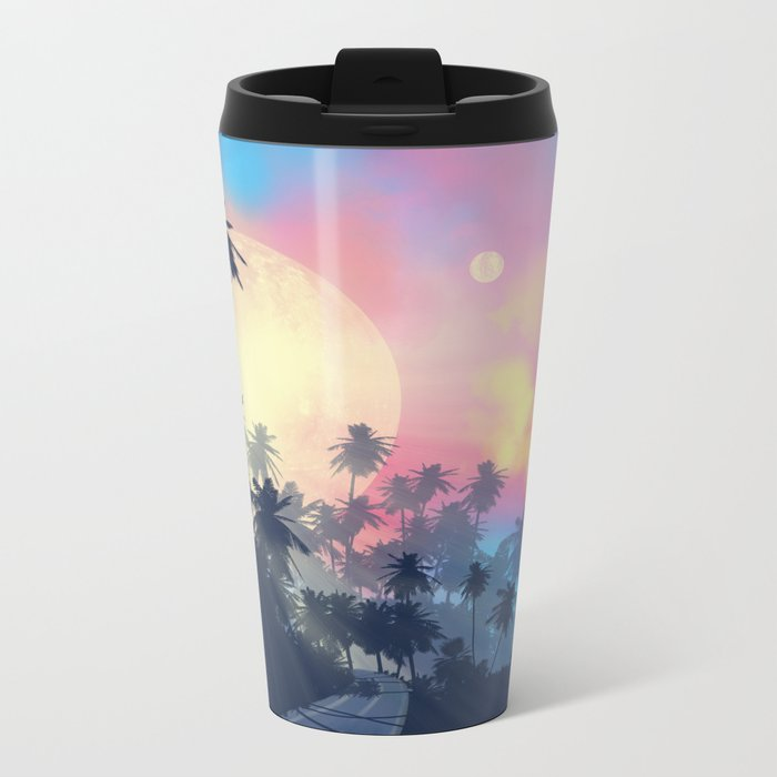 summer palms Metal Travel Mug