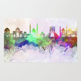 Tehran skyline in watercolor background Rug