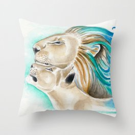 Two Lions Watercolor Art Throw Pillow