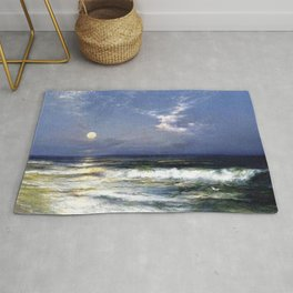 Moonlit Beach Seascape No. 1 landscape painting by Thomas Moran Rug