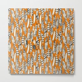 joyful feathers orange Metal Print