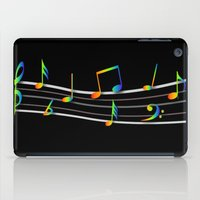 music notes iPad Cases featuring Rainbow Music Notes on Black by GBC Design