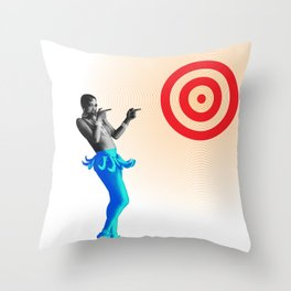 Josephine aims at the target Throw Pillow