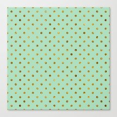 Chic Gold and Mint Dots Canvas Print