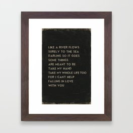 Can't Help Falling in Love With You Elvis Presley Lyrics Music Poster Framed Art Print